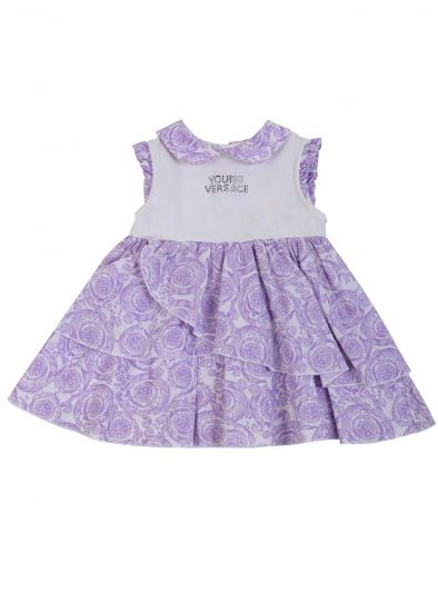 YOUNG VERSACE WHITE & LILAC BAROQUE PRINT LAYERED FROCK