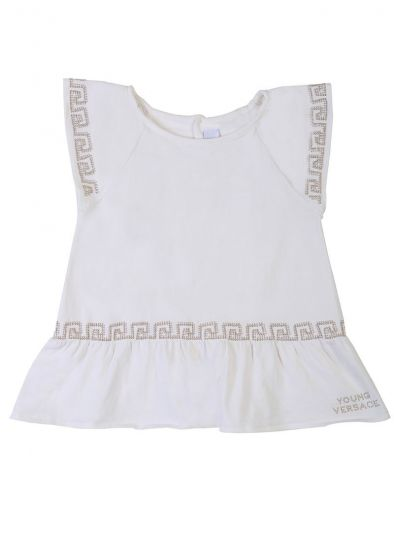 YOUNG VERSACE WHITE PEPLUM CRYSTAL TOP
