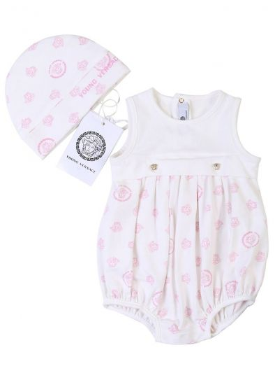 YOUNG VERSACE WHITE & PINK MEDUSA LOGO ROMPER, CAP AND BOOTIES SET
