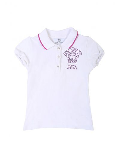 YOUNG VERSACE WHITE & PURPLE CRYSTAL TOP