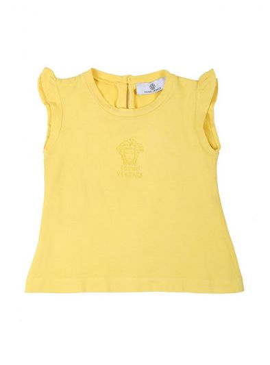 YOUNG VERSACE YELLOW MEDUSA EMBROIDERY TOP